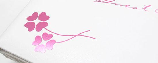ゲストブック「クローバー」ピンク