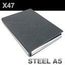 X47 STEEL A5 size road skin graphite refills with 4 spring bar ( system Handbook / x 47 / grey / steel / steel )
