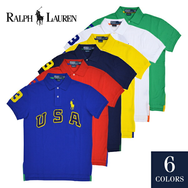 POLO by Ralph Lauren polo Ralph Lauren Custom-Fit USA Big Pony Polo polo shirt big pony short sleeves