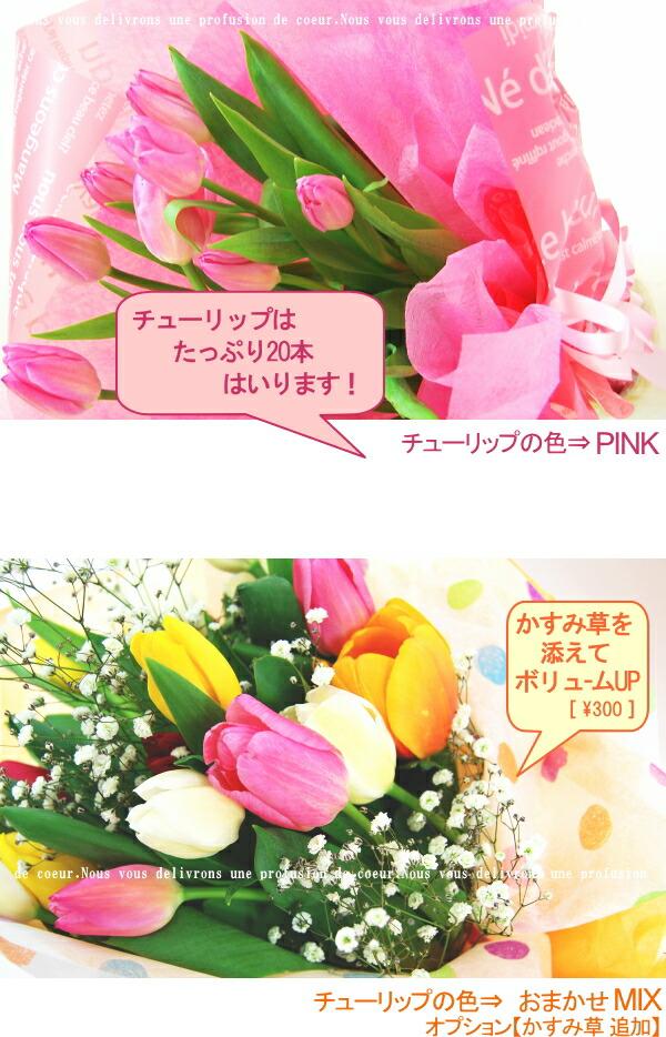 春の花チューリップの花束