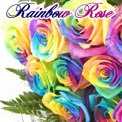 虹色の薔薇レインボーローズ10本の花束