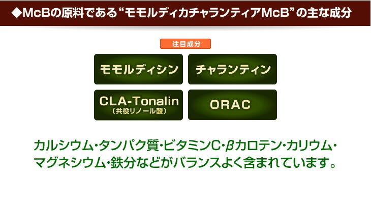 """◆McBの原料である""""モモルディカチャランティアMcB""""の主な成分 注目成分 モモルディシン チャランティン CLA-Tonalin (共役リノール酸) ORAC カルシウム・タンパク質・ビタミンC・βカロテン・カリウム・ マグネシウム・鉄分などがバランスよく含まれています。"""
