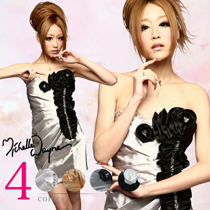 キャバ嬢 ミニドレス【MICHELLE|ミシェル】カシュクールのドレープをフロント全体に入れて可愛らしく♪胸元に付けたバラのモチーフが印象的なミニドレス4color♪