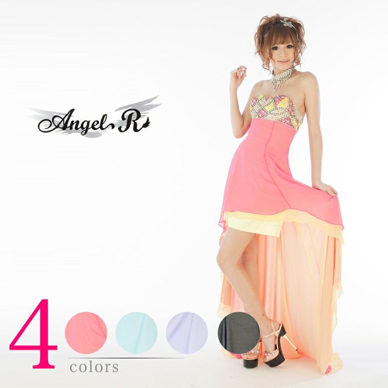 キャバ嬢 ロングドレス【Angel R|エンジェルアール】スッキリとしたデザインに配色が映える!!ミニワンピースにジョーゼットの柔らかい素材を着せた中ミニロングドレス4color