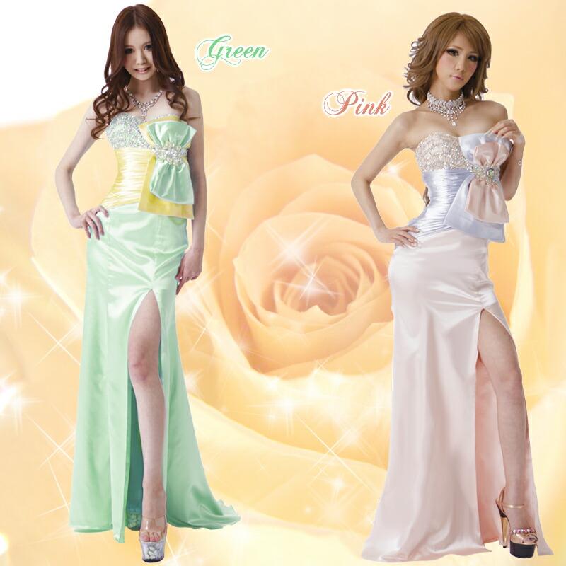 キャバ嬢 ロングドレス【Angel R|エンジェルアール】柔らかいツートーンカラーが上品なイメージで!大きなリボンが印象的なロングドレス♪
