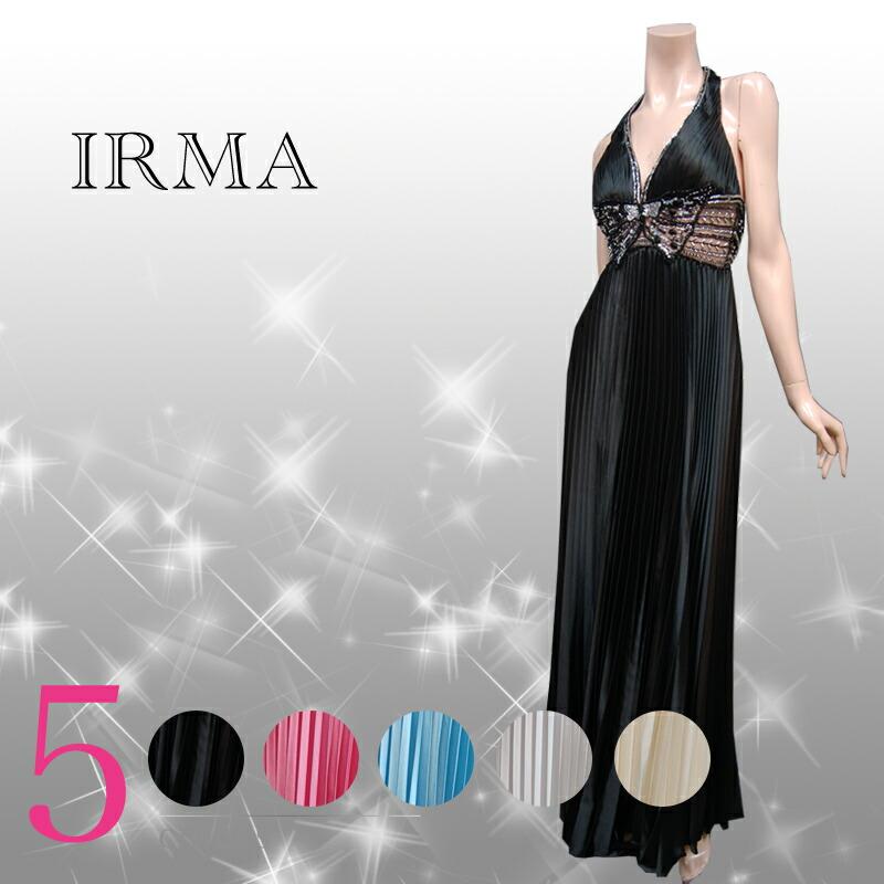 ロングドレス【IRMA|イルマ】ウエストをシースルーにしてセクシー☆アコーディオンプリーツを使った流れるラインが綺麗なロングドレス5color