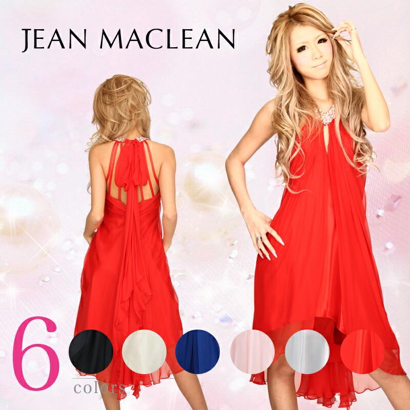 キャバ嬢 ミニドレス【JEAN MACLEAN|ジャンマクレーン】首元をデコレイトしたビーズ飾りがポイント☆サテンとシフォンジョーゼットを組み合わせのミニドレス 5color♪