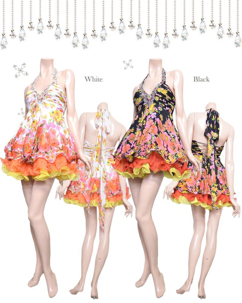 キャバ嬢 ドレス【IRMA イルマ】フレアーにチュールレースがボリューム感たっぷり!フラワープリントにトリコロールで配色のドレス2color