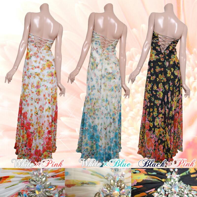 【JEAN MACLEAN|ジャンマクレーン】花柄プリントのグラデーション感覚がとっても可愛い☆スリットから覗く足元もとってもセクシーなロングドレス3color