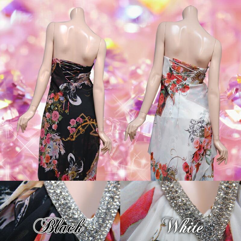 キャバ嬢 ロングドレス【IRMA|イルマ】前をミニ丈で後ろを長くして足元を覗かせています☆ジョーゼット素材のベアトップロングドレス2color♪