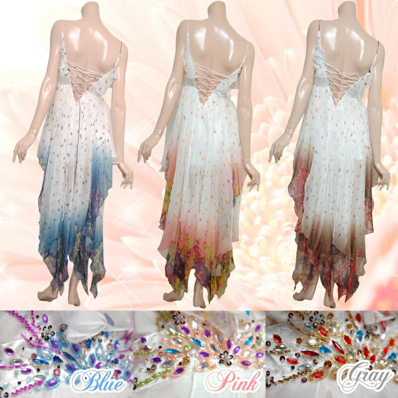 JEAN MACLEAN|ジャンマクレーン背中編み込みでサイズフリータイプ!ミニのフレアードレスの後ろにテイルが豪華な中ミニロングドレス3color