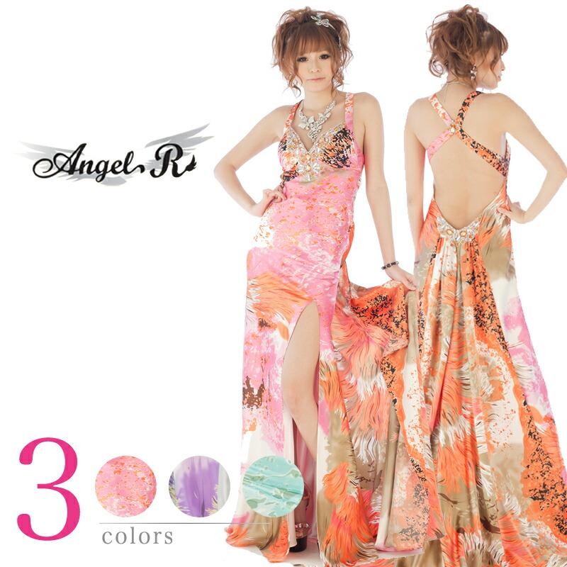 キャバ嬢 ロングドレス【Angel R|エンジェルアール】背中に付けたテイルがとっても可愛い♪♪総プリントの可愛いロングドレス3color♪