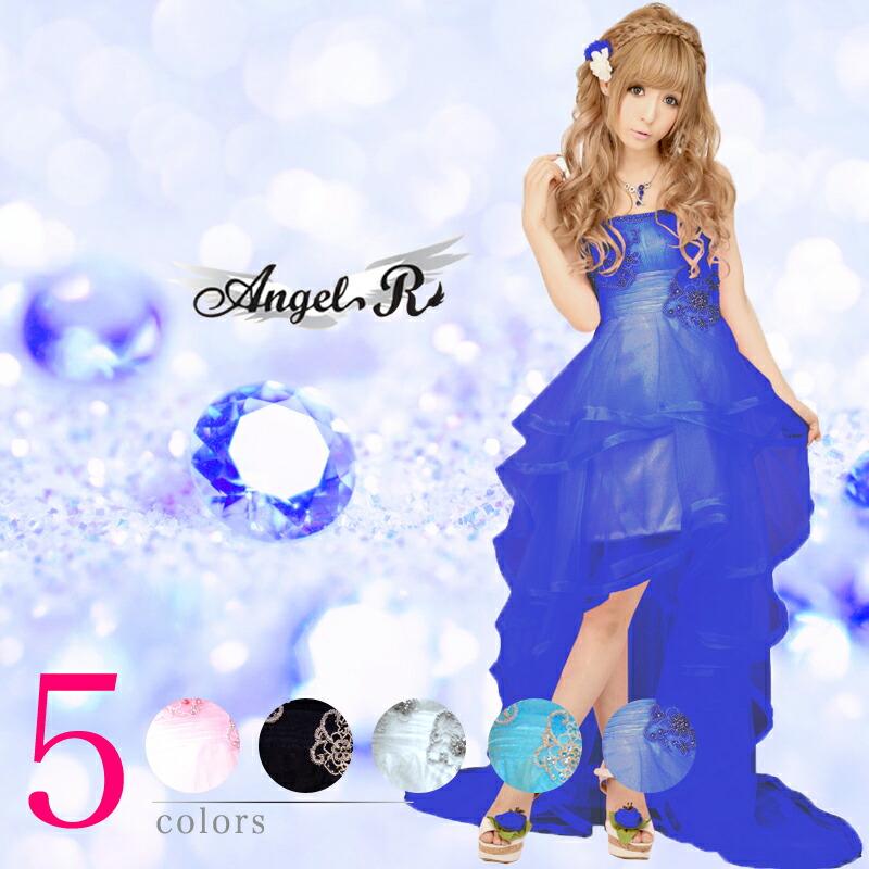 【Angel R|エンジェルアール】フロントは足元短くミニ仕立て☆柔らかいチュールレース素材を使ったロングドレス4color♪