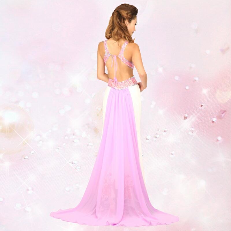 キャバ嬢 ロングドレス【Angel R エンジェルアール】プリントに合わせた背中のロングテイルがエレガント☆白をベースに鮮やかなプリントをしたオシャレロングドレス♪[