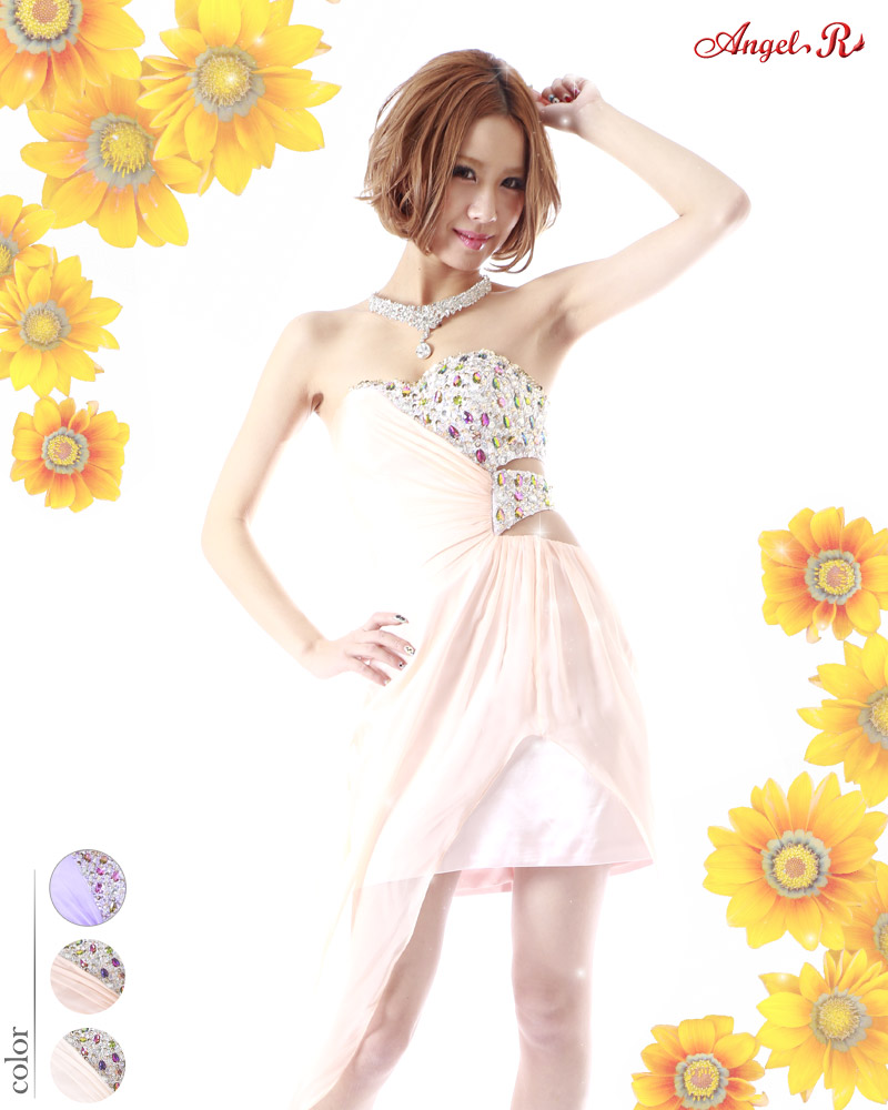 キャバ嬢 ドレス【Angel R|エンジェルアール】スリットから覗く足元が超セクシー☆ジョーゼット素材を組み合わせたハイ&ローロングドレス!