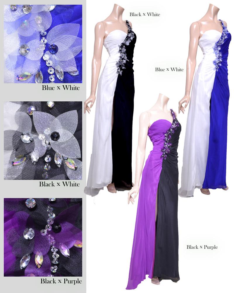 キャバ嬢 ドレス【IRMA|イルマ】ツートーンの配色が印象的で注目間違いなし!モチーフフラワーたっぷりで可愛いロングドレス3color
