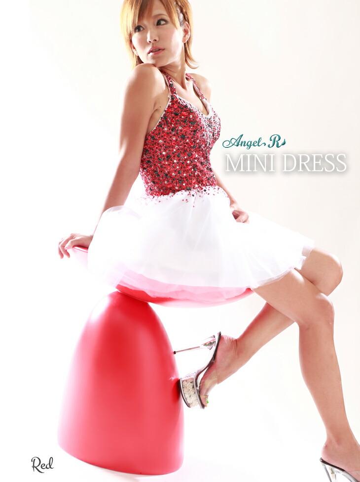 【Angel R|エンジェルアール】チュールレースのホルターミニドレス☆まばゆいたっぷりのカラフルビジューにふわっとレーススカートがとってもキュート♪