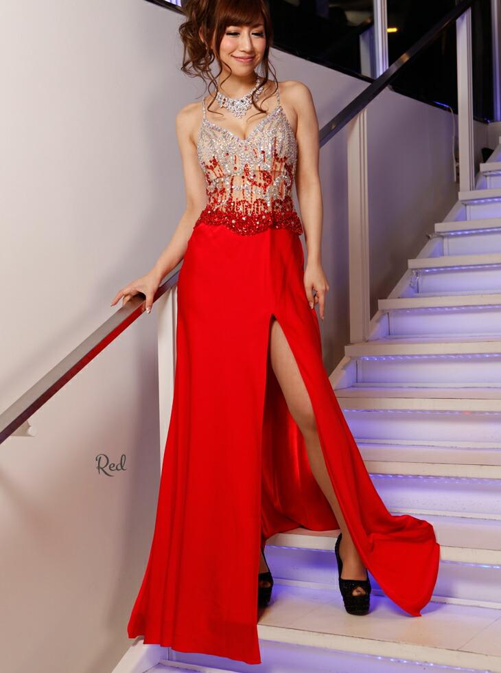 キャバ嬢 ドレス【Angel R|エンジェルアール】スリットを深く開けてセクシーに!2ピース風に見せたワンピースドレス♪