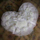 Magnet so ring position is modifiable. Cute ruffle flower ring pillow completed handmade wedding wedding gifts available
