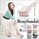 By Bill ♪ koakuma AgeHa also featured Sandals FINAL SALE ☆ restocked! SEXY rose two-stage クリアハイヒール rose sandal shoes size