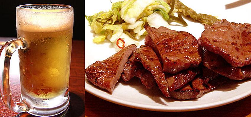 ビールと仙台牛たんのイメージ画像