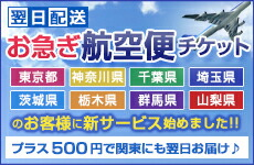 関東4県にも翌日お届け!お急ぎ航空便チケット