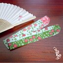 New pattern in stock ★ Japan-made cotton fan bag - yumeji - wild strawberry pattern / 04