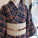 Original ripsaw's Nishijin-s ★ cotton kimono size one size fits most dress like a little retro ☆ adult cute Madras checked pattern cotton kimono-cotton