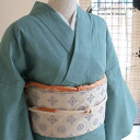 Original ripsaw's Nishijin,-s, and free (L) size cotton cotton kimono ★ tsumugi (tsumugi / Zheng) wind chive Color/Turquoise / green (green only is blue)