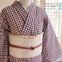 Original ripsaw's Nishijin,-s,-free (L) size cotton ★ gingham hot - 50648801-kinari / Navy / red / 48 cotton kimono-cotton