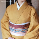 Original ripsaw's Nishijin and even washable cotton kimono-s-free (L) size cotton cotton kimono ★ tsumugi (tsumugi / Zheng) wind mustard / mustard solid