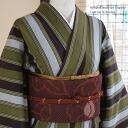 Also original ripsaw's Nishijin washable cotton / cotton kimono-100%-s (L)-free size cotton kimono cotton kimono and Mikawa cotton striped kimono (Brown / khaki green) Earth / stripe / Brown / Green