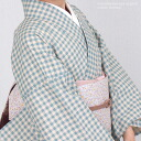 Linen cotton washable cotton hemp linen * cotton kimono kimono /kmn-m 26hal-03 off-white base Smokey blue gingham check