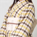 Washable linen kimono * linen 100% even when French linen and yellow check linen kimono /kmn-m 26hal-01