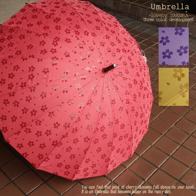 濡れると浮き出る傘・16本骨傘