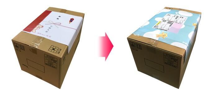 のしイメージ 商品のケースをのし及び包装紙で、簡易的に包みヤマト運輸の伝票を貼って発送いたします。 ※簡易包装のみ必要なお客様はのしはつきません。