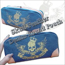 * Jupiter &Juno Jupiter and Juno Skull Feather Denim Round Pouch (skull featherweight denim round porch)