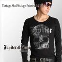 In Jupiter &Juno Jupiter and Juno Vintage Skull & Logo Printed Long Sleeve Tee (vintage skull and logo print l/s T shirt)
