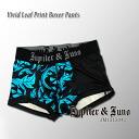 Jupiter &Juno (ジュピターアンドジュノ) Vivid Leaf Print Boxer Pants (fluorescent leaf print boxer shorts)