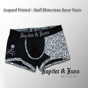 Jupiter &Juno (ジュピターアンドジュノ) Leopard Printed×Skull Rhinestone Boxer Pants (Leopard x skull rhinestone Boxer shorts)