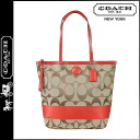 Coach COACH tote bag khaki x vermilion stripe large ladies