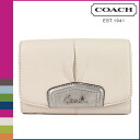 Coach COACH two bi-fold wallet silver × white アシュリーレザーコンパクトクラッチウォレット ladies