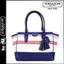 Coach COACH tote bag navy multi-Legacy stripe print Candice medium Lady's