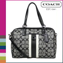 Coach COACH Boston bag 2-Way black / white signature stripe PVC satchel ladies