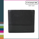 Point twice coach COACH men's 2 fold wallet [F74634] black Camden leather compact ID wallet [regular outlet]