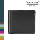 Coach COACH men's 2 fold wallet Black Heritage Web leather compact ID wallet