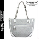 Coach COACH poppy POPPY tote bag gray X white Small kilt New Jersey Lady's ★★