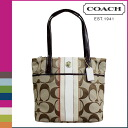 Coach khaki COACH tote bag [F24666] x Vermillion multi signature multi stripe women's [regular outlet] [12 / 4 new in stock]