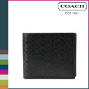 Point twice coach COACH men's 2 fold wallet F74687 black HPC signature compact ID [12 / 1 back in stock] regular outlet P06Dec14