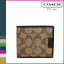 Coach COACH men folio wallet [F74736] khaki X brown CHS compact ID [regular outlet ][1/28 Shinnyu load]★★